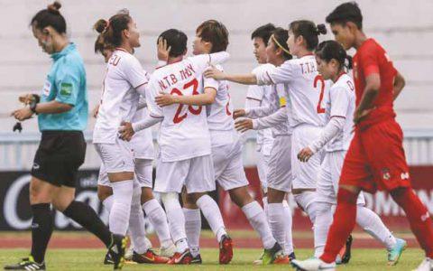 Việt Nam đánh bại Myanmar giải vô địch bóng đá nữ AFF
